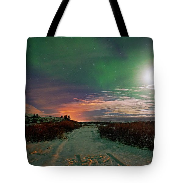 Tote Bag featuring the photograph Iceland's Landscape At Night by Dubi Roman