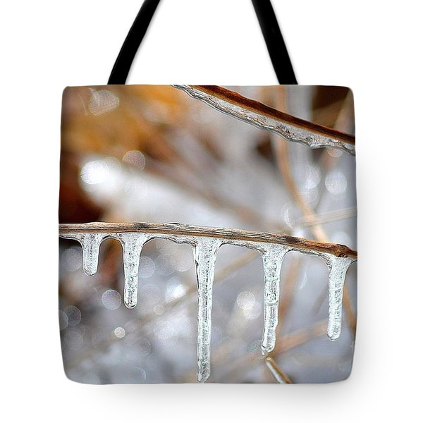 Icicles And Bokeh Tote Bag by Deb Badt-Covell