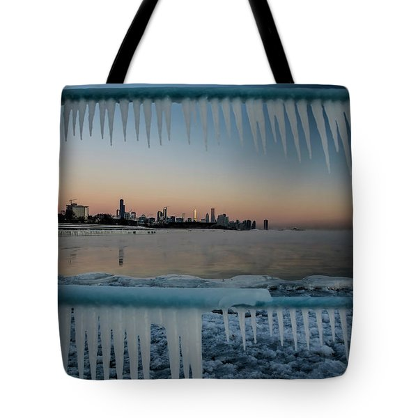 Icicles And Chicago Skyline Tote Bag
