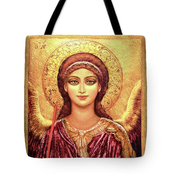 Icon Archangel Gabriel In Magenta Tote Bag