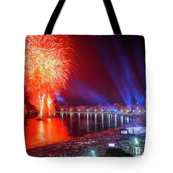Iconic And Breath-taking Fireworks Display On Copacabana Beach,  Tote Bag