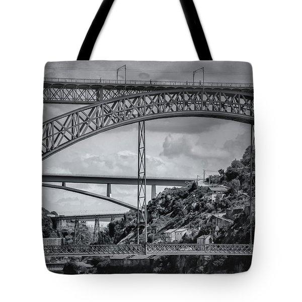 Iconic Bridges Of Porto In Black And White  Tote Bag