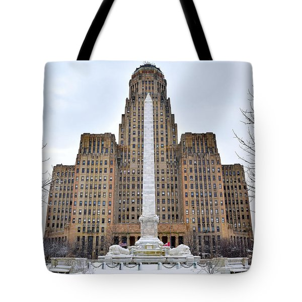 Iconic Buffalo City Hall In Winter Tote Bag