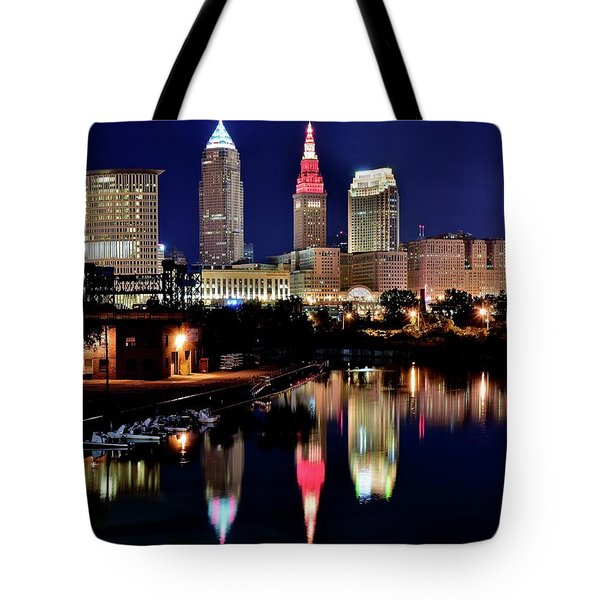 Iconic Night View Of Cleveland Tote Bag