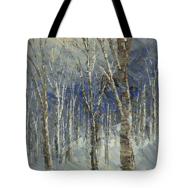 Tote Bag featuring the painting Icy Bells by Tatiana Iliina