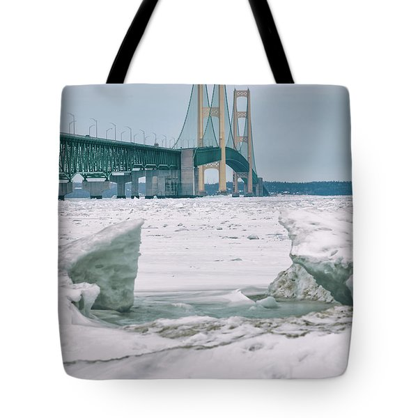 Tote Bag featuring the photograph Icy Day Mackinac Bridge  by John McGraw