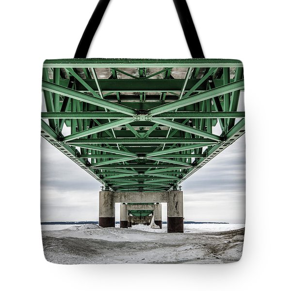 Tote Bag featuring the photograph Icy Mackinac Bridge In Winter by John McGraw