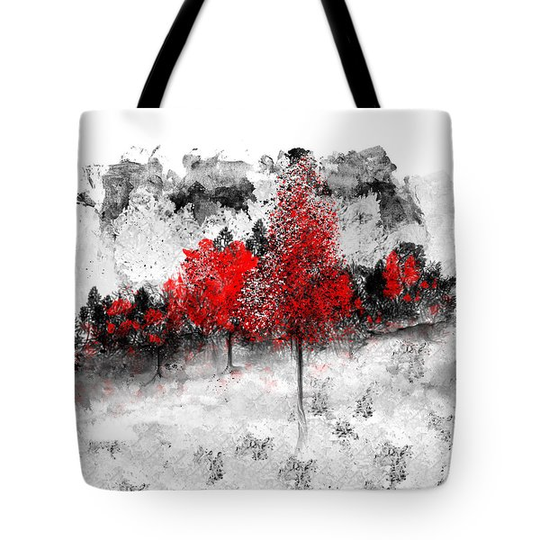 Icy Red Landscape Tote Bag