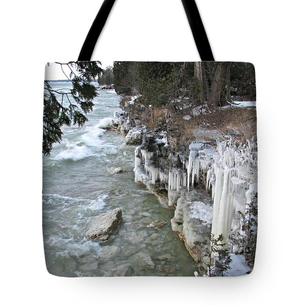 Tote Bag featuring the photograph Icy Shores by Greta Larson Photography