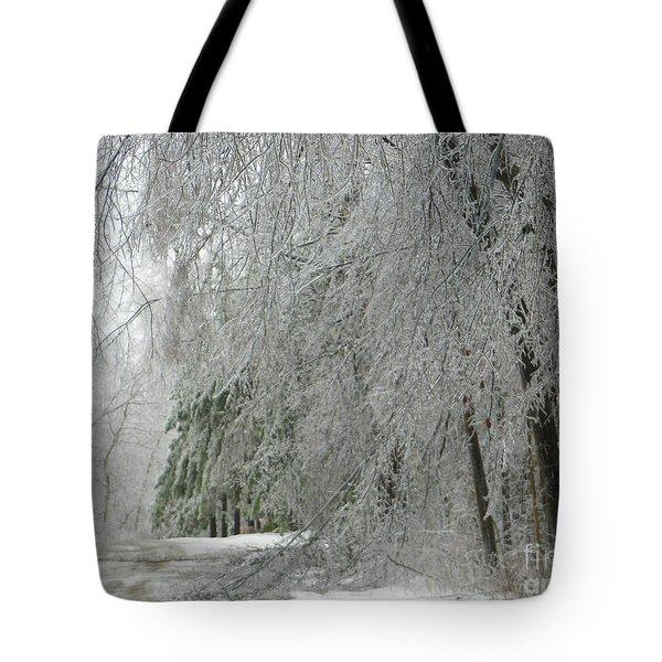 Icy Street Trees Tote Bag