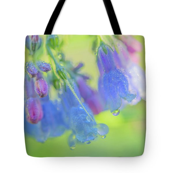 Tote Bag featuring the photograph Idaho Bluebells Morning Dew by Leland D Howard