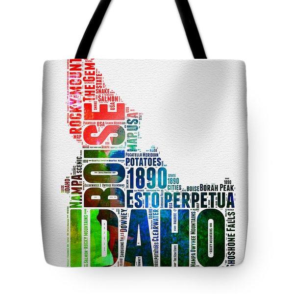 Idaho Watercolor Word Cloud  Tote Bag