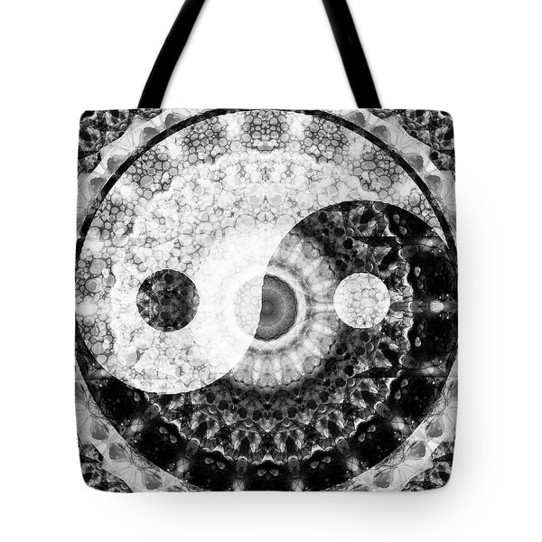 Tote Bag featuring the painting Ideal Balance Black And White Yin And Yang By Sharon Cummings by Sharon Cummings