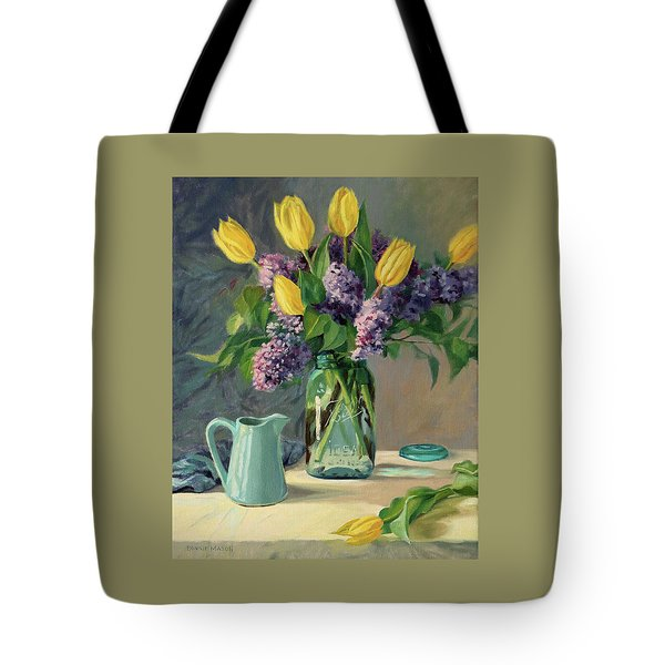 Ideal - Yellow Tulips And Lilacs In A Blue Mason Jar Tote Bag