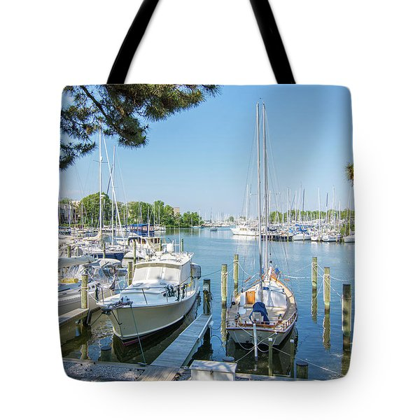 Tote Bag featuring the photograph Idle Boats by Charles Kraus