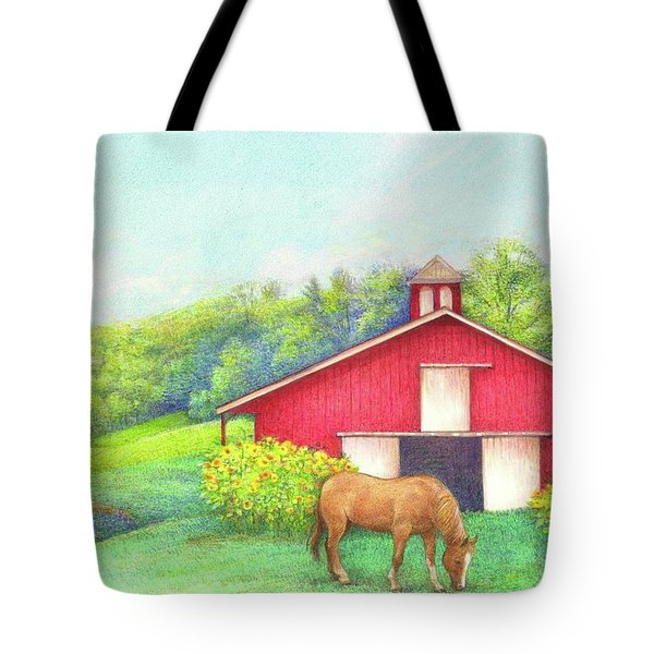 Idyllic Summer Landscape Barn With Horse Tote Bag