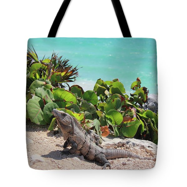 Tote Bag featuring the photograph Iguana At Tulum by Roupen  Baker