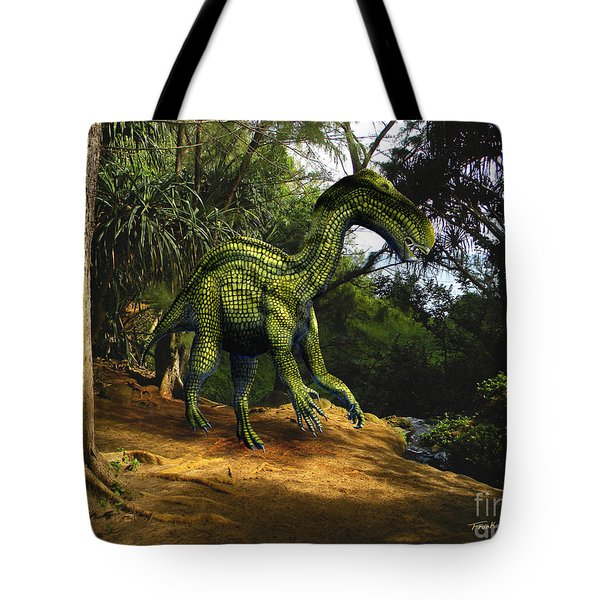Iguanodon In The Jungle Tote Bag by Frank Wilson