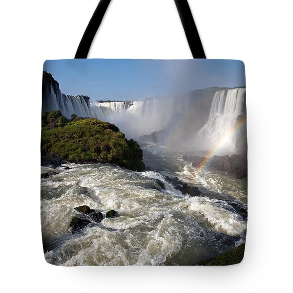 Iguassu Falls With Rainbow Tote Bag by Aivar Mikko