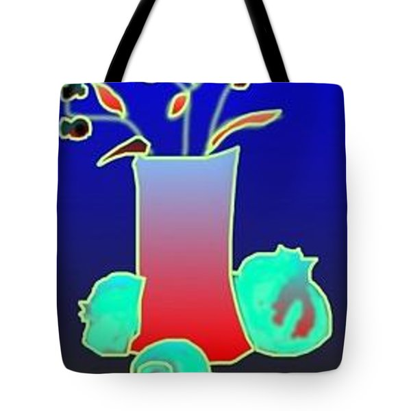 Tote Bag featuring the digital art Ikibana On Blue by Rae Chichilnitsky