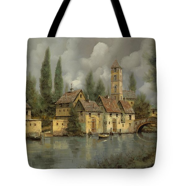 Tote Bag featuring the painting Il Borgo Sul Fiume by Guido Borelli
