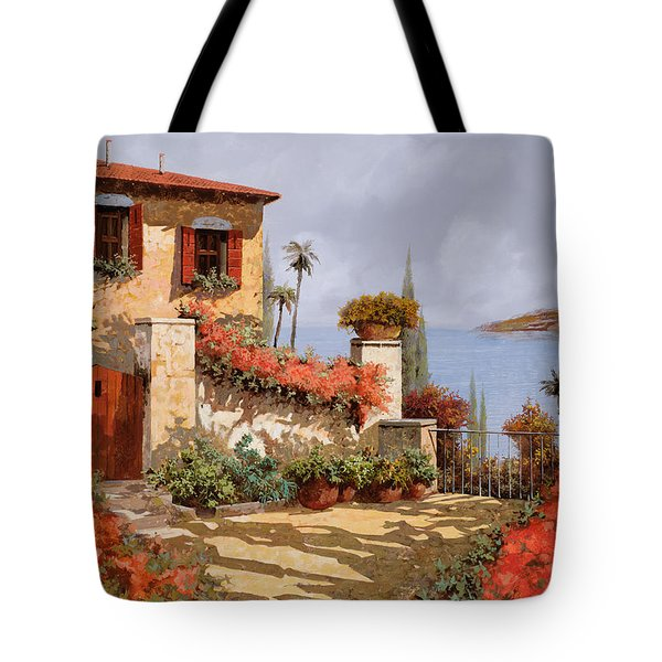 Tote Bag featuring the painting Il Giardino Rosso by Guido Borelli