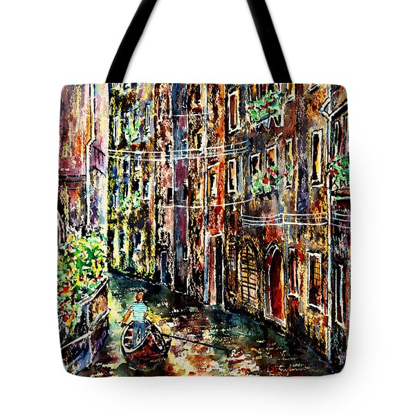 Tote Bag featuring the painting Il Giro Finale Del Gondoliere by Alfred Motzer