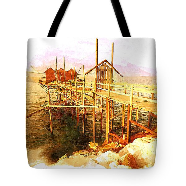 Il Grande Trabucco - Trebuchet Fishing Tote Bag by Zedi