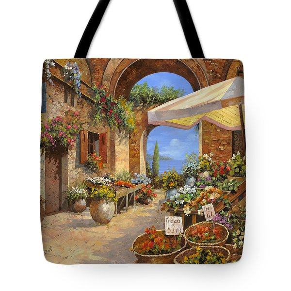 Tote Bag featuring the painting Il Mercato Del Lago by Guido Borelli
