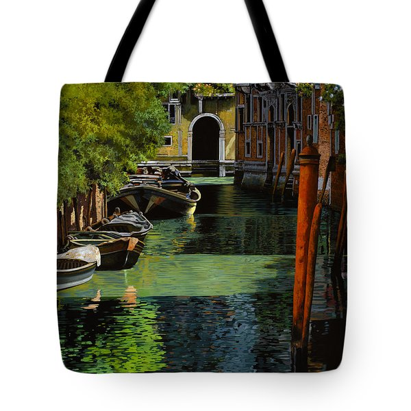 Tote Bag featuring the painting il palo rosso a Venezia by Guido Borelli