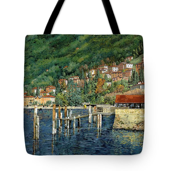 il porto di Bellano Tote Bag by Guido Borelli
