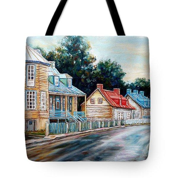 Ile D'orleans Quebec Street Scene Tote Bag by Carole Spandau