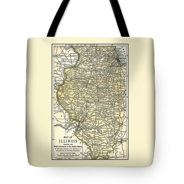 Illinois Antique Map 1891 Tote Bag