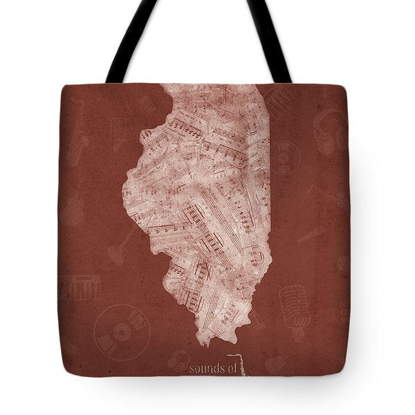 Illinois Map Music Notes 5 Tote Bag