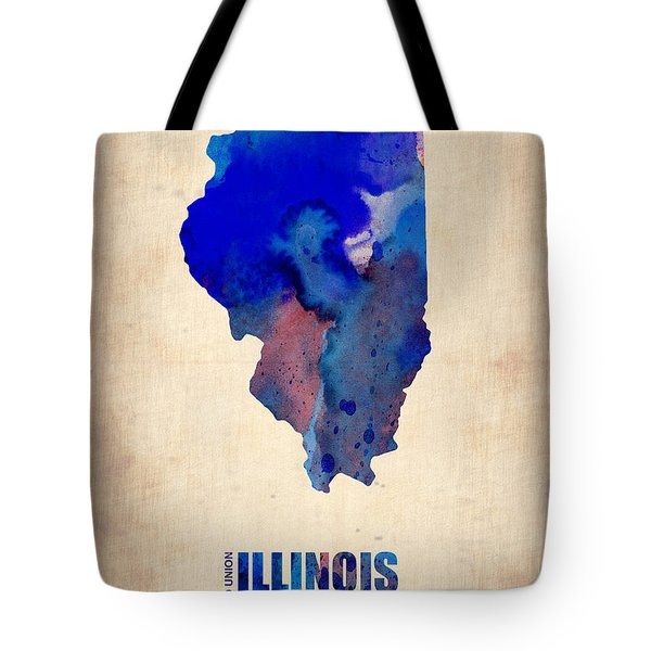 Illinois Watercolor Map Tote Bag