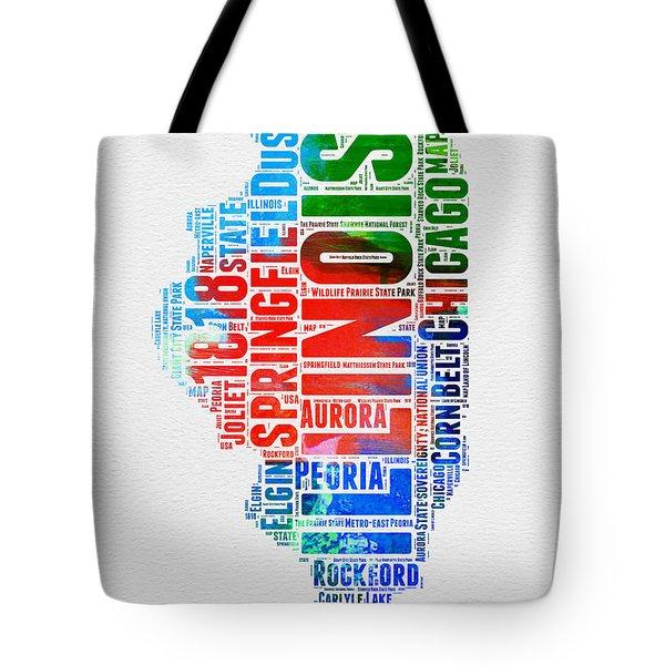 Illinois Watercolor Word Cloud Map  Tote Bag