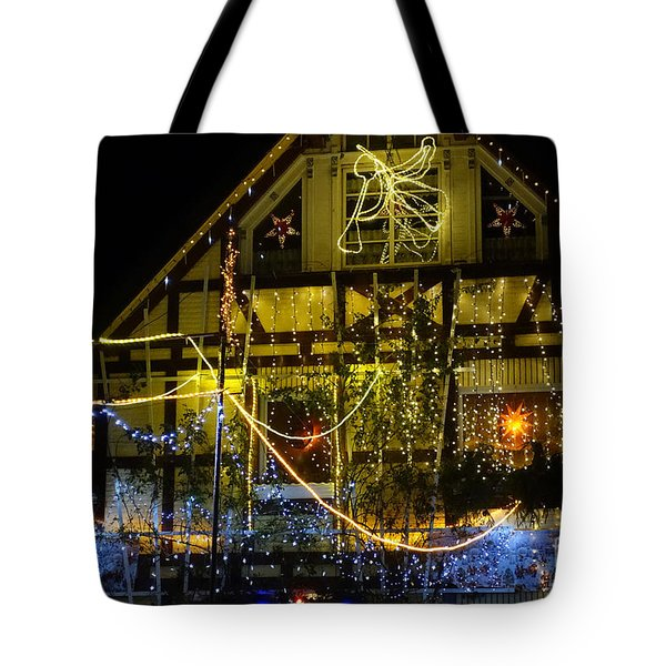 Illuminated Christmas-house Tote Bag