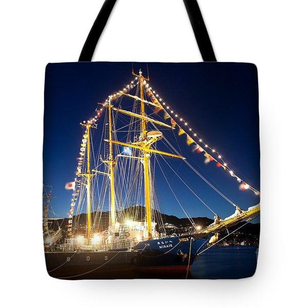 Illuminated Sailing Ship Tote Bag