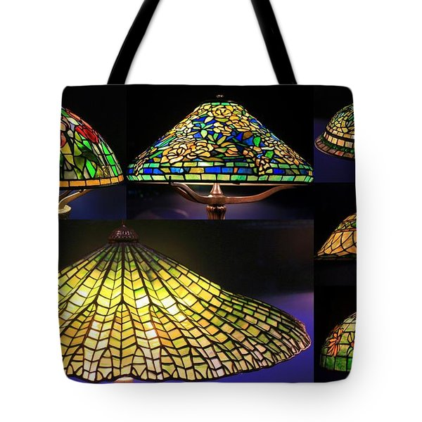 Illuminated Tiffany Lamps - A Collage Tote Bag