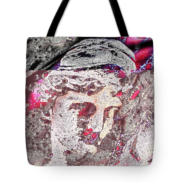 Tote Bag featuring the mixed media Illusion Face by Yury Bashkin