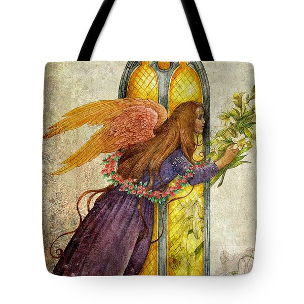 Illustrated Angel And Lily Tote Bag