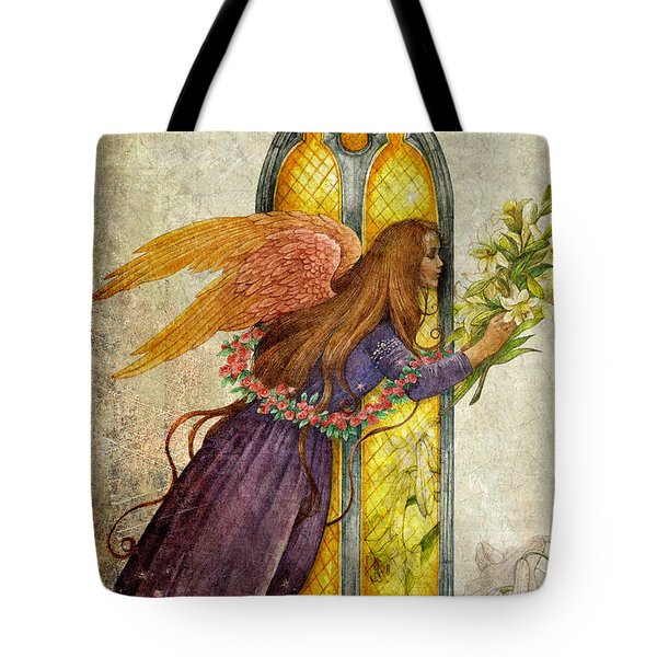 Tote Bag featuring the painting Illustrated Angel And Lily by Judith Cheng