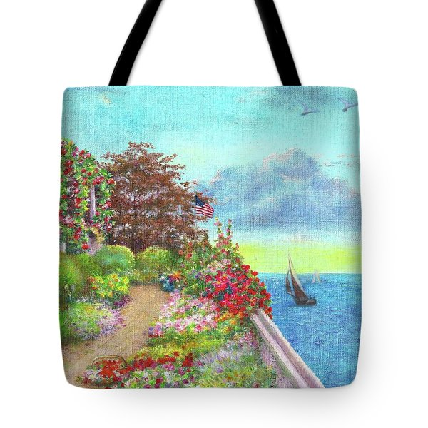 Illustrated Beach Cottage Water's Edge Tote Bag