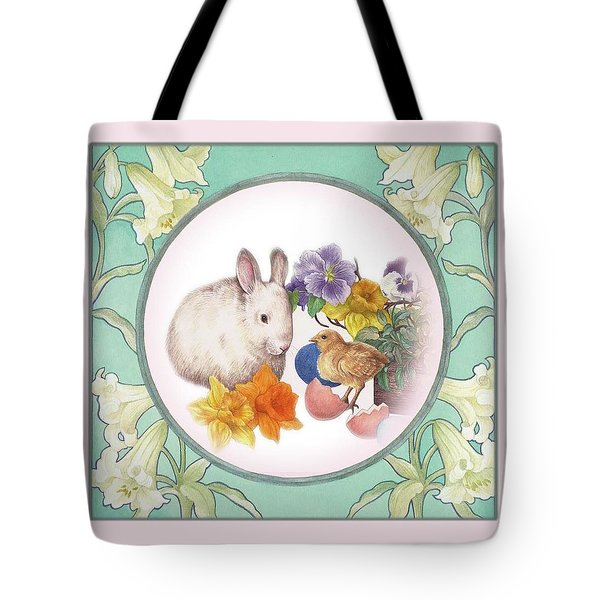 Tote Bag featuring the painting Illustrated Bunny With Easter Floral by Judith Cheng