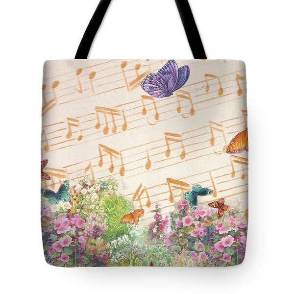 Illustrated Butterfly Garden With Musical Notes Tote Bag