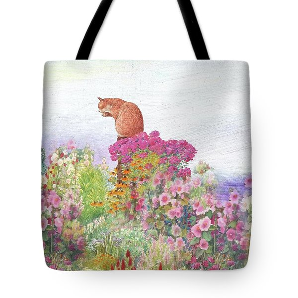 Illustrated Cat In Garden Tote Bag