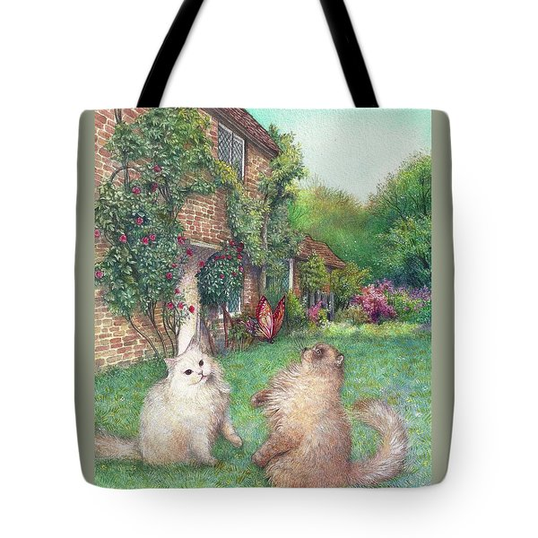 Tote Bag featuring the painting Illustrated Cats In English Cottage Garden by Judith Cheng