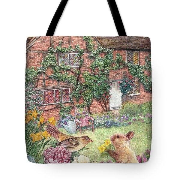 Illustrated English Cottage With Bunny And Bird Tote Bag by Judith Cheng