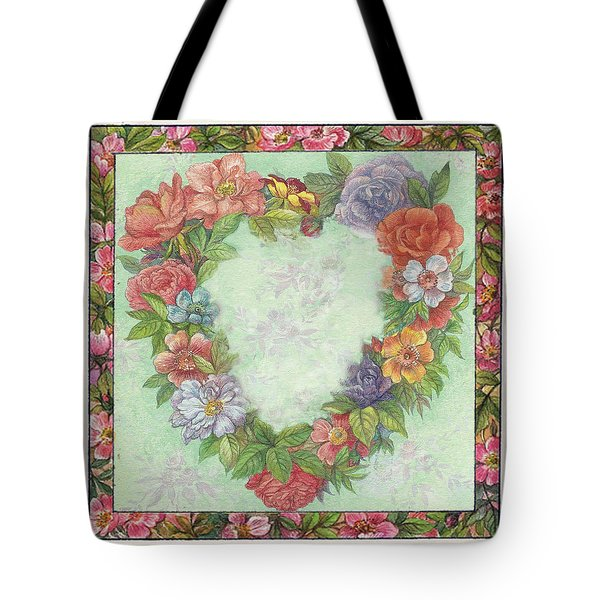 Tote Bag featuring the painting Illustrated Heart Wreath by Judith Cheng