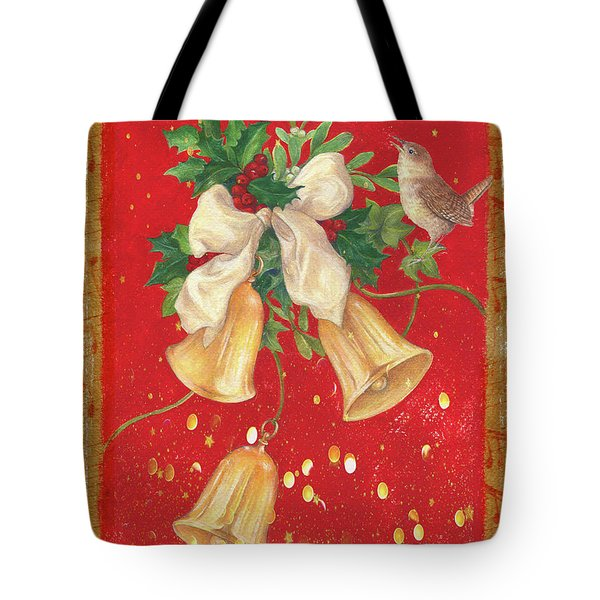 Illustrated Holly, Bells With Birdie Tote Bag